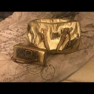 Metallic Gold purse with matching wallet